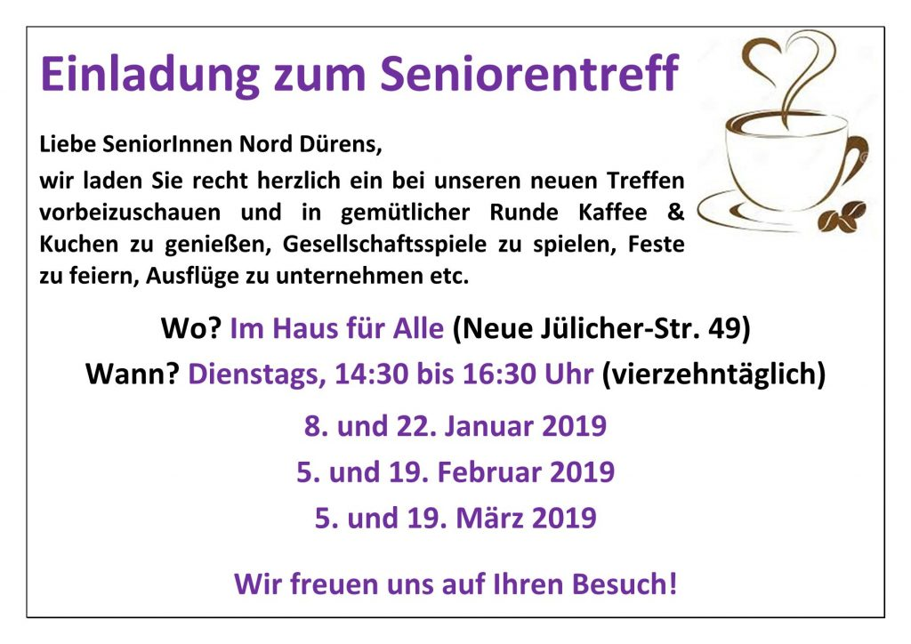 Seniorentreff Jan-Mar 2019